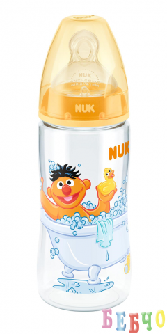 NUK First Choice РР шише 300мл. с биберон за храна 6-18 мес. SESAME STREET